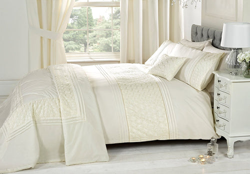 Cream EVERDEAN Embroidered Duvet Cover Set by Rapport