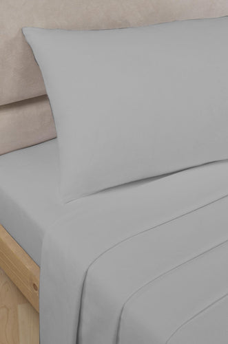 Grey Percale/Polycotton Flat Sheet 180 TC by Rapport