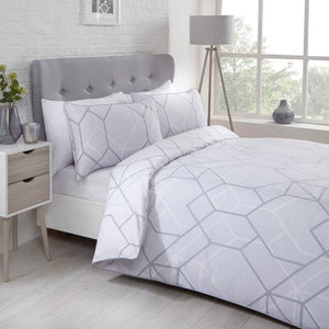 Grey NETWORK Geometric Piped Edge Duvet Cover Set by Rapport