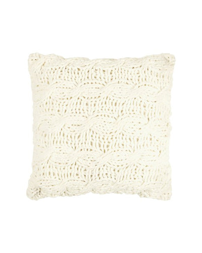CHUNKY Polyester Knit Cushion, 45 x 45cm, Cream