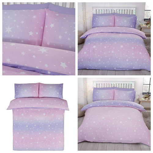 Blush Flannelette Starburst Reversible Sheet Set by Bedding Heaven