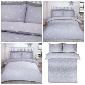 Grey Flannelette Starburst Reversible Fitted Sheet by Bedding Heaven