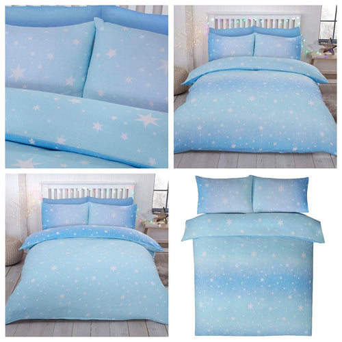 Ice Blue Flannelette Starburst Reversible Duvet Cover by Bedding Heaven
