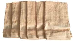 6 x Peach Cotton GUEST TOWELS 400gsm by Linens Direct
