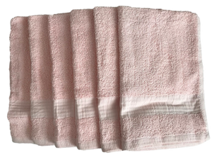 6 x Pink Cotton GUEST TOWELS 400gsm by Linens Direct