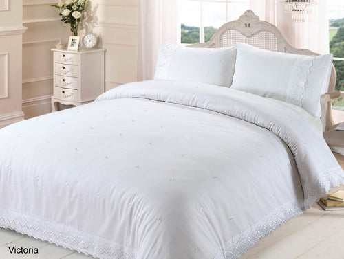 White Victoria Embroidered Duvet Cover Set by Rapport