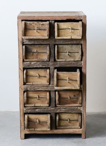 Wooden Brick Mold Cabinet W10 Drawers