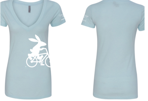 Swamp Rabbit Inn Light Blue V-Neck Shirts