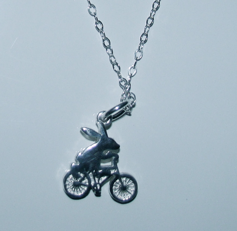Bunny on a Bike Silver Pendant