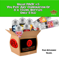 Value Pack #5: 8x120ml - Record Vapes Premium E-juice Online / Free Shipping Over $55