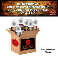 Value Pack #6  30ml Salt Nic (6 Bottles) - Record Vapes Premium E-juice Online / Free Shipping Over $55