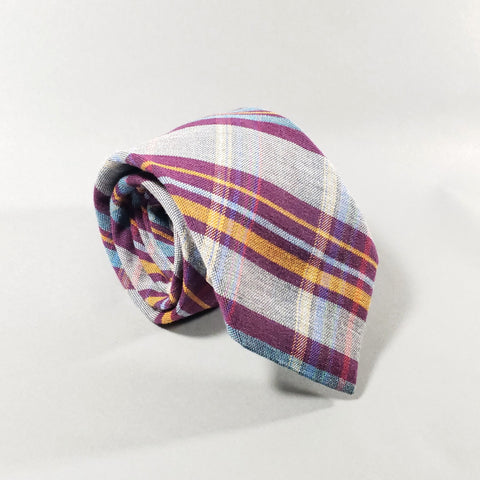 Silk / Wool Handmade Plaid Tie - Purple / Gold