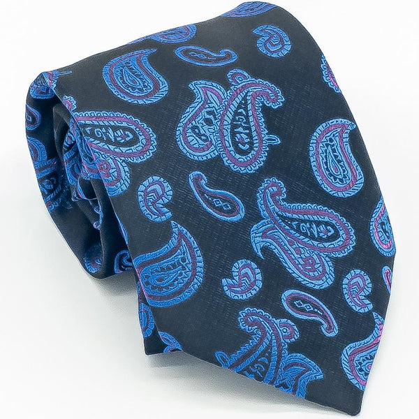 Navy Blue Silk Paisley XL Tie - Cameron Michael Ties