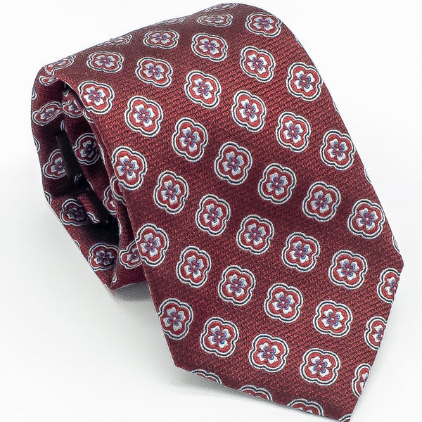 Woven Silk Medallion Tie - Red - Cameron Michael Ties