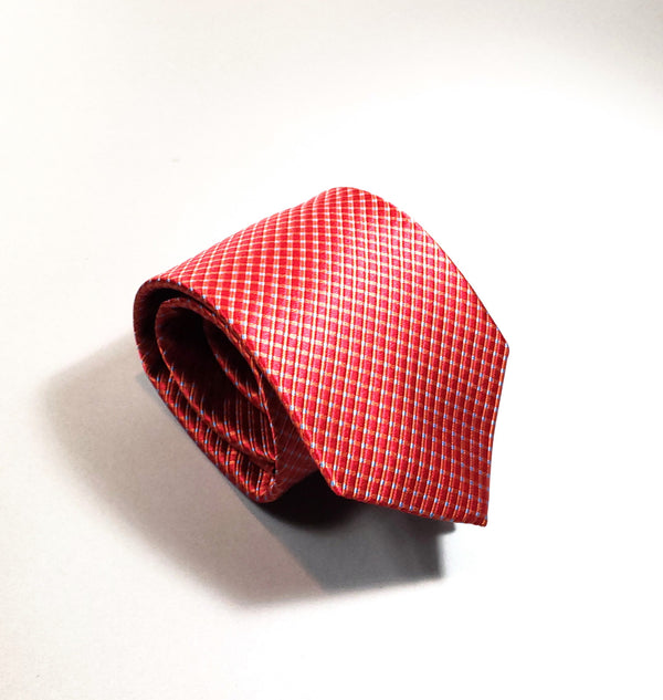 Red Smooth Silk Diamond Pattern Tie - Cameron Michael Ties