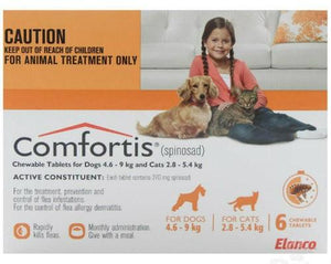 Comfortis (Orange) for Dogs 4.6-9kg (10-20lbs) and Cats 2.8-5.4kg (6-12lbs) UPW  6 Pack |