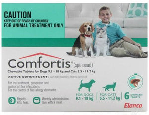 Comfortis (Green) for Dogs 9.1-18kg (20-40lbs) and Cats 5.5-11.2kg (12-24lbs) UPW 6 Pack |
