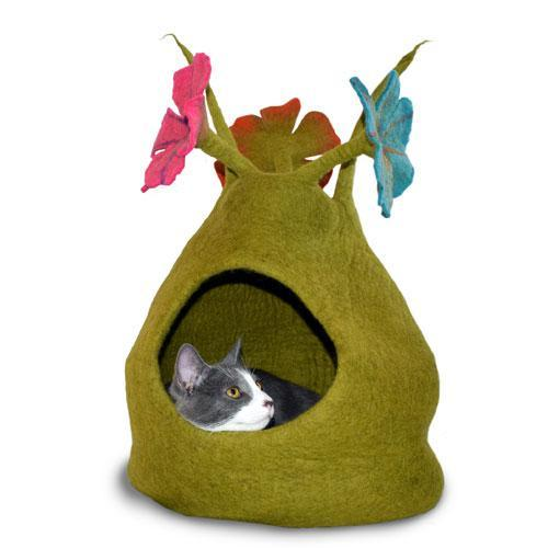 Dharma Dog Karma Cat Green/Multi Holiday Tree Cat Cave | .Com