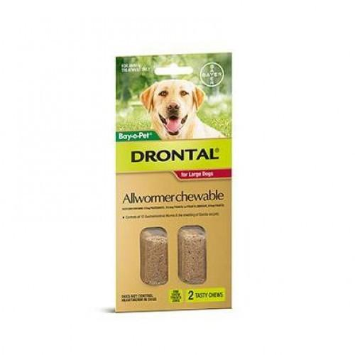 Bayer Drontal For Dogs 2 Tasty Chews 77 lbs (35 Kg) |