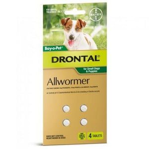 Bayer Drontal Allwormer For Small Dogs & Puppies, 4 tablets Pack  |