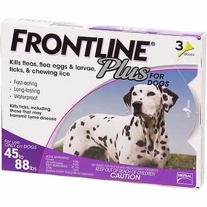 Flea and Tick Prevention - Frontline Plus Spot-on for Large Dogs weighing 45-88lb