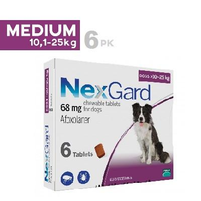 NexGard Chews Medium Dogs 24.1-60lbs (10-25kg), 6 Pack |
