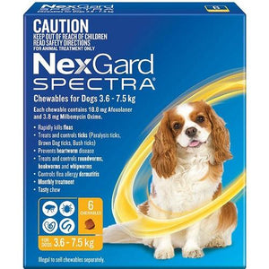 NexGard Spectra Small Dogs 8-16 lbs (3.6-7.5 kg), 6 Pack | UnitedPetWorld