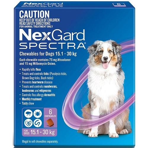 NexGard Spectra Large Dogs 33-66 lbs (15-30 kg), 6 Pack | UnitedPetWorld