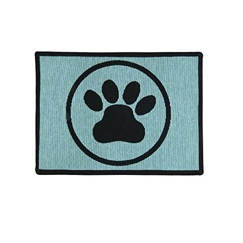 PB Paws & Co. Tapestry Pet Mats, Paws (Aquamarine) Pattern