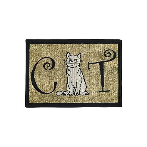 PB Paws & Co. Tapestry Pet Mats, Cat Pattern (Black) | Singpet.Com