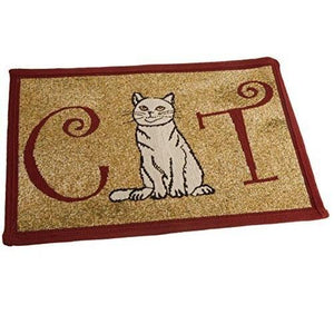 PB Paws & Co. Tapestry Pet Mats, Cat Pattern (Cinnabar) | Singpet.Com