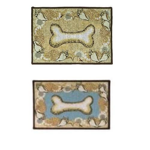 PB Paws & Co. Tapestry Pet Mats, Seashell Bone Pattern