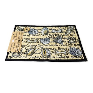 PB Paws & Co. Tapestry Pet Mats, Seashore Dogs Pattern (Natural)