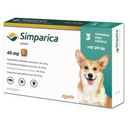 Simparica 40mg Chewable Tablets For Dogs >22-44 lbs (10-20 kg) | .Com