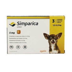 Simparica 5mg Chewable Tablets For Dogs 3-6 lbs (1.3-2.5 kg) UPW 3 Pack |