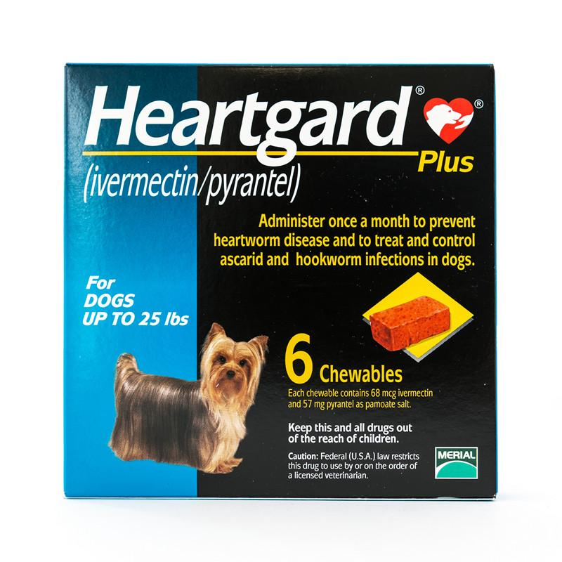 Heartgard Chewables Plus for dogs up to 25 lbs, Blue (Frontview) |