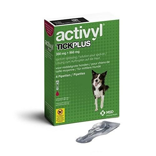 Activyl Tick Plus for Medium Dogs 10.1-20 kg (22-44 lbs) UPW 4 Packs |