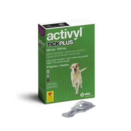 Activyl TICKPLUS 600mg+1920mg For Large Dogs 44-88 lbs (20-40 kg) UPW 4 Packs |