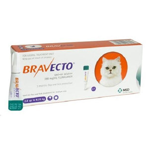 Bravecto 250mg Spot-On Solution For Medium Cats 6-14lbs (2.8-6.25kg), UK |