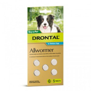 Bayer Drontal For Medium Dogs 5 Tablets 22 lbs (10 Kg) |