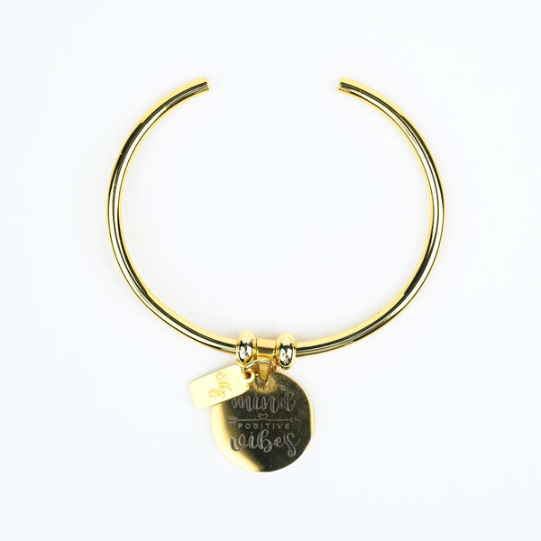 ME™ Positive Minds Positive Vibes Goldtone Bangle