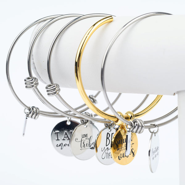 ME™ Love My Tribe Silvertone Bangle