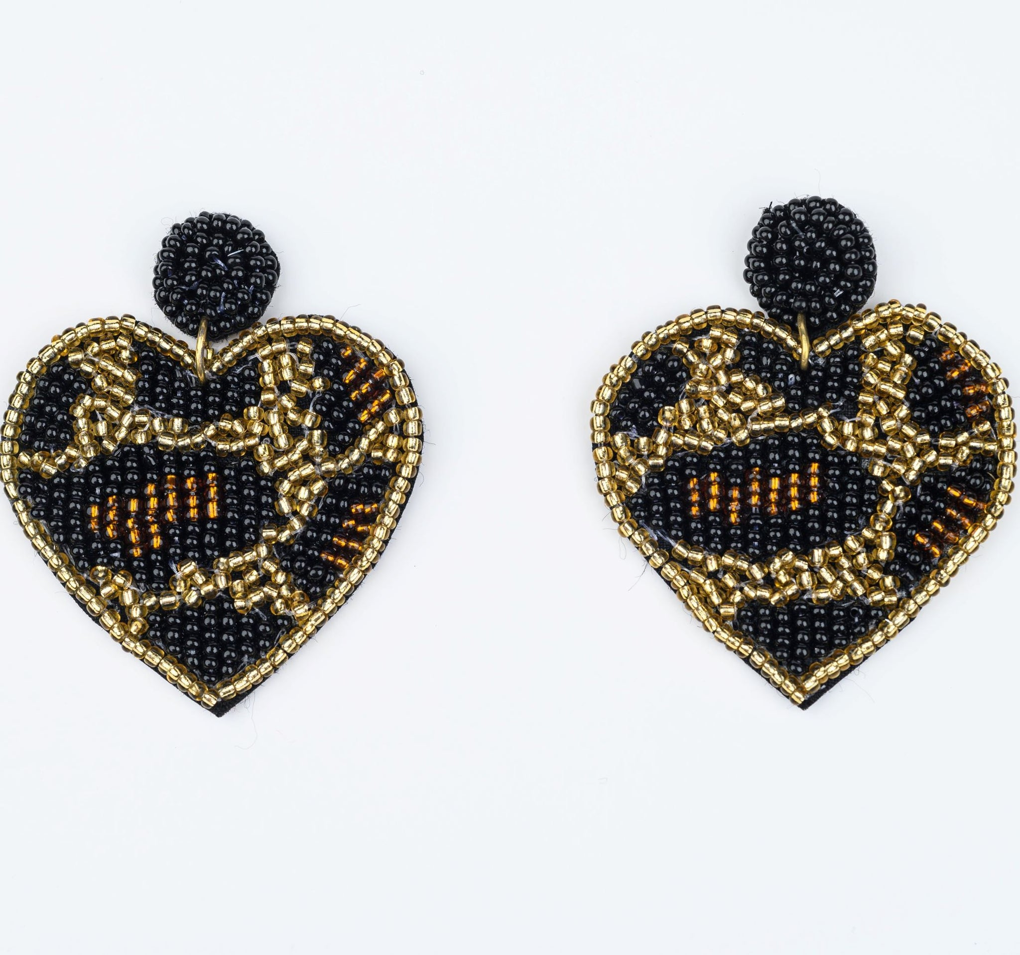 Leopard Print Beaded Heart Earrings Accessories Show Your Africa