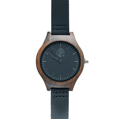 EKO & CO.™ Wood and Leather Silvertone Watch