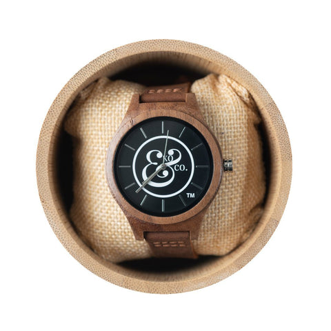EKO & CO.™ Limited Edition Wood and Leather Logo Watch