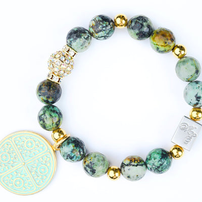 ME™ African Turquoise 7-inch Goldtone Charm Bracelet Women's Bracelets Show Your Africa
