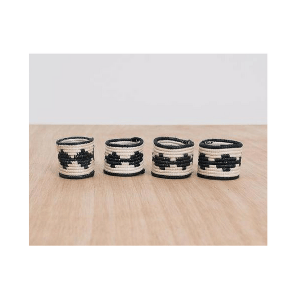 Black + White Napkin Rings, Set of 4