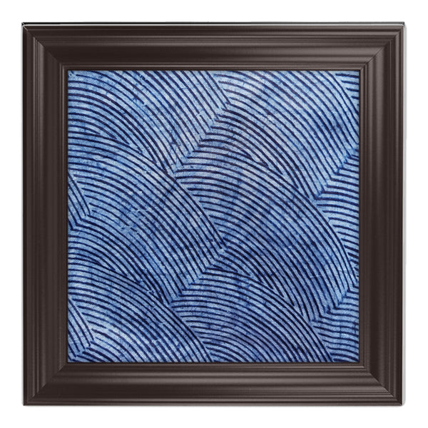 ME™ Blue Brocade Adire Framed Canvas Wall Decor Show Your Africa Walnut