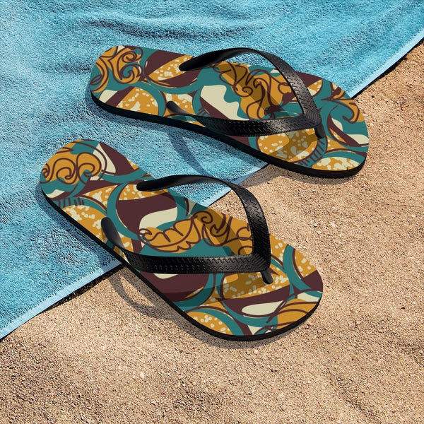 EKO & CO.™ Ankara Print Flip Flops - Brown Shoes Printify