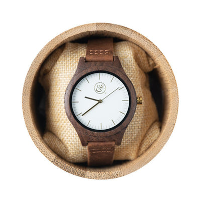 EKO & CO.™ Wood and Leather Goldtone Watch